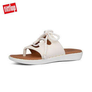 FitFlop FELICITY LACE-UP LEATHER TOE-THONGS海洋風綁帶設計夾腳涼鞋 (白石色)