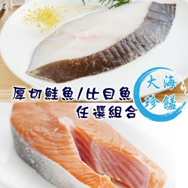 【賣魚的家】品質嚴選大規格鮭魚/比目魚(220G/片)-任選8片組