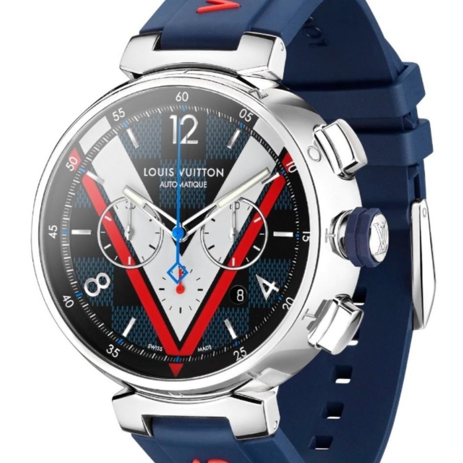 路易威登全新 Tambour Damier Cobalt Chronograph 腕錶